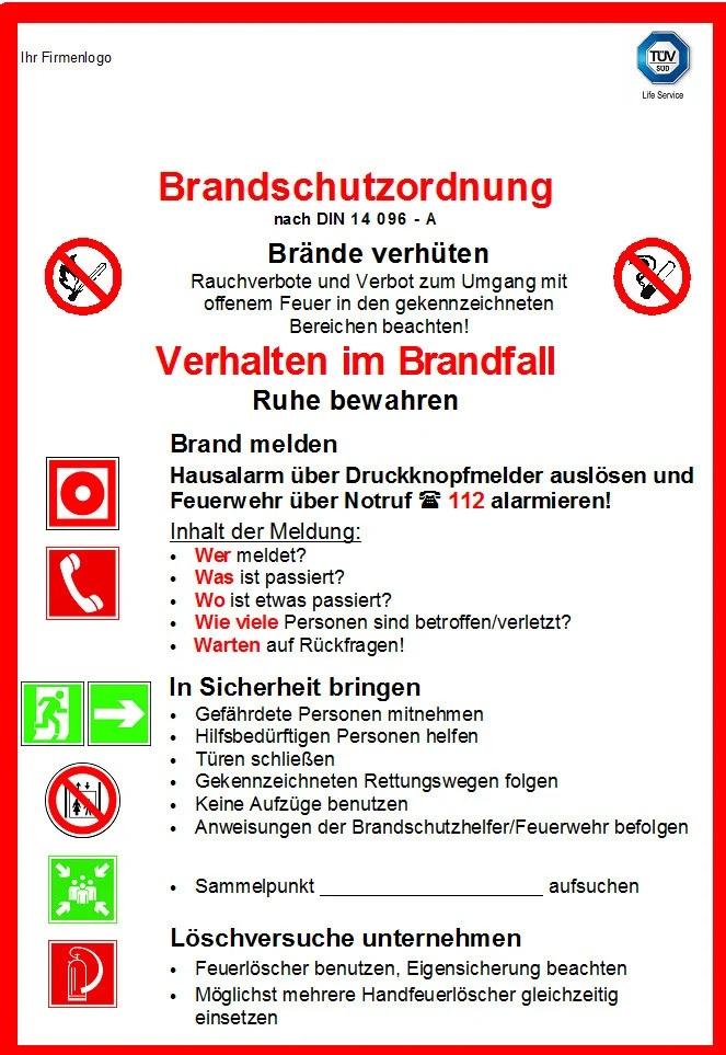 Brandschutzordnung mit icons in rot und Grün