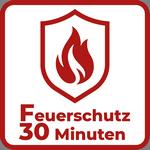 rote Flamme auf einem Schild mit Unterschrift Feuerschutz 30 Minuten