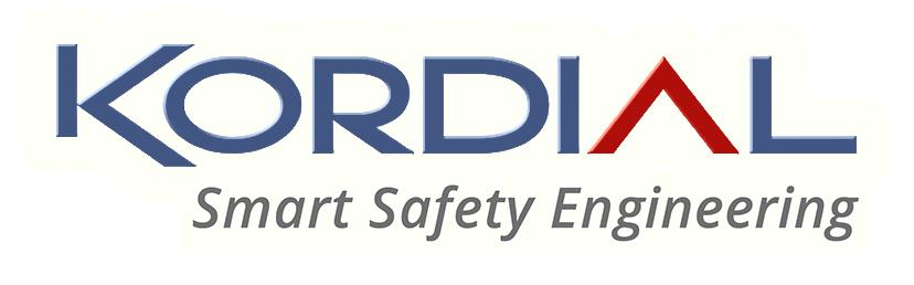 Kordial Smart Safety Engineering - logo in Blau, Rot, Grau.