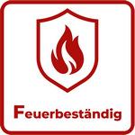 rote Flamme auf einem Schild mit Unterschrift Feuerbeständig